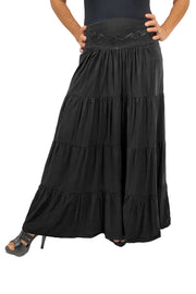 Renaissance hoop skirt with elastic waist Black