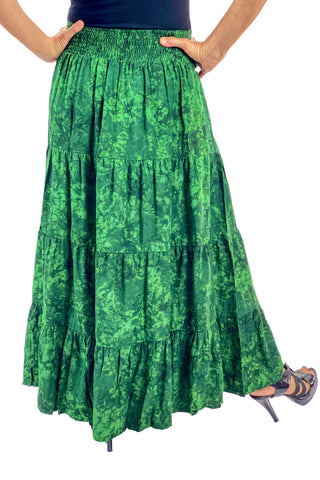 Renaissance hoop skirt with elastic waist Back View Green