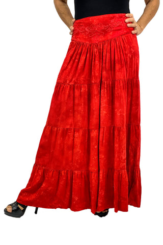 Renaissance hoop skirt with elastic waist Red