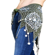Belly Dance Coin Belt Renaissance coin scarf  Olive SIlver