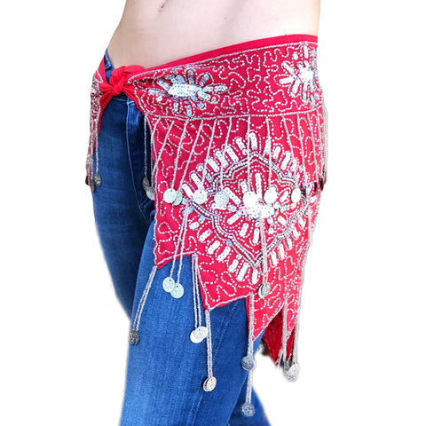 Belly Dance Coin Belt Renaissance coin scarf red silver