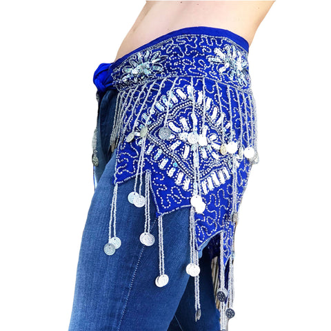 Belly Dance Coin scarf Renaissance coin scarf Blue