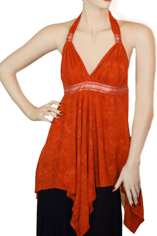 Renaissance Top Halter Top  Orange