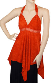 Renaissance Top Halter Top Red