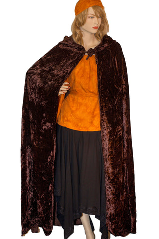 Renaissance Cloak cape Hooded cloak Brown