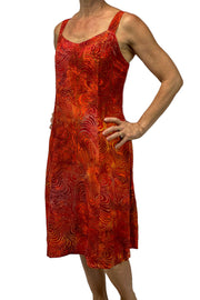 Batik Dress Sun Dress summer dress fire orange