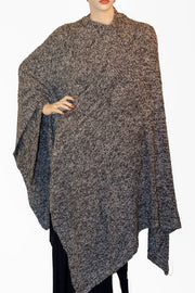 Womans throw wrap pancho knit wrap Black and white