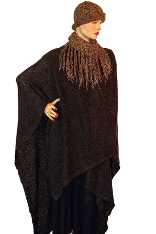 omans throw wrap pancho knit wrap Black