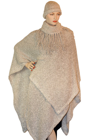 Womans throw wrap pancho knit wrap cream