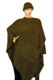 Womans throw wrap pancho knit wrap Green