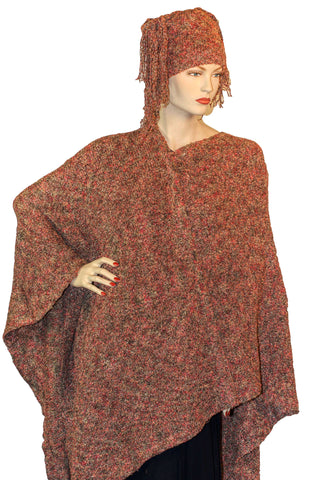 Womans throw wrap pancho knit wrap rust
