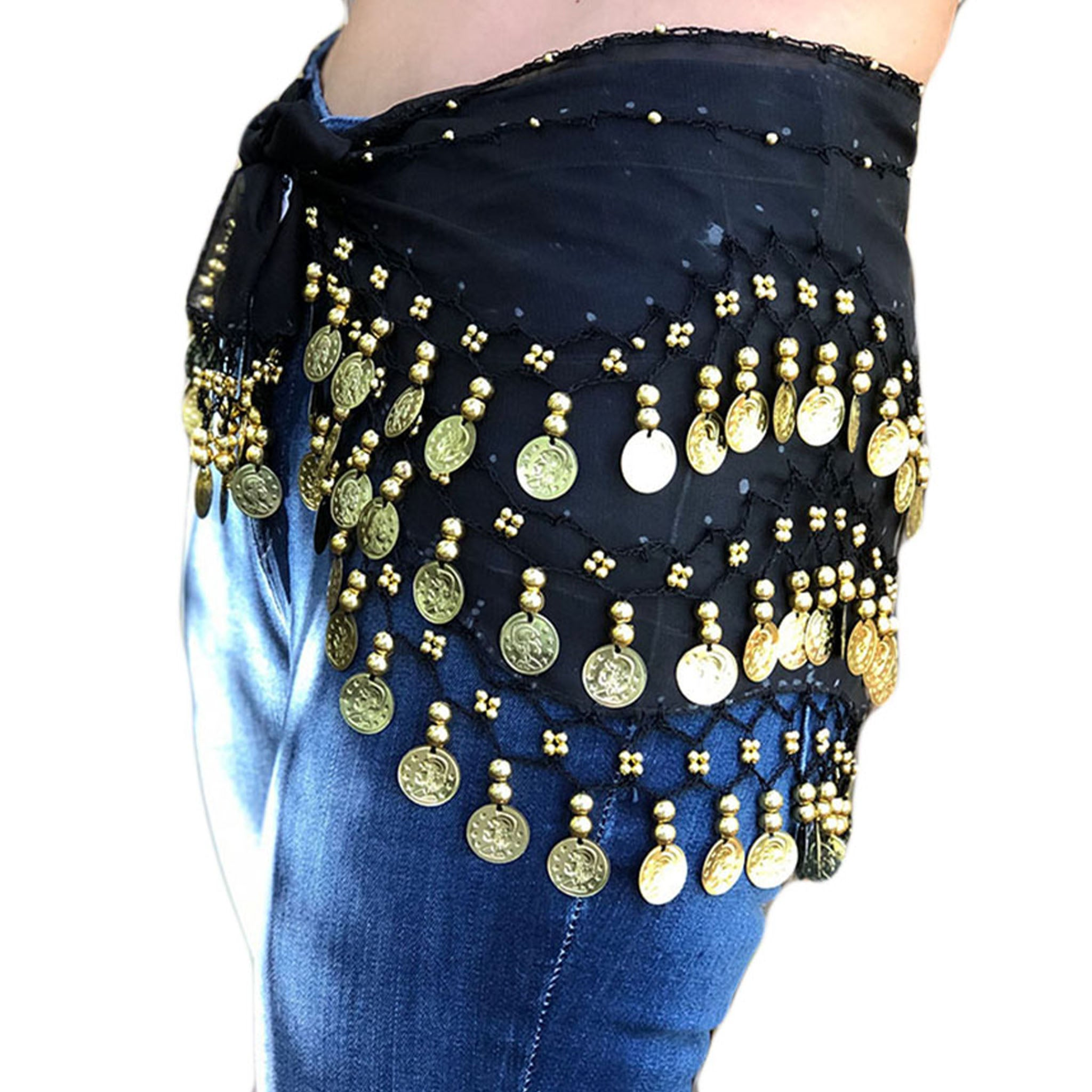 Zumba Coin Scarf Belly Dance Coin belt Black Gold