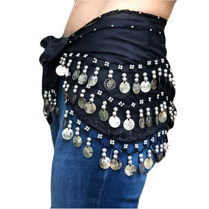 Zumba Coin Scarf Belly Dance Coin belt black silver