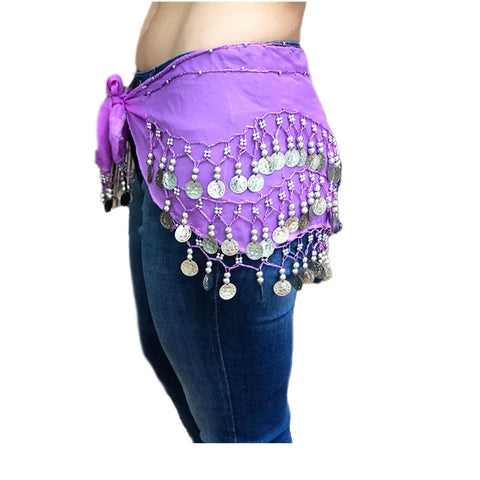 Zumba Coin Scarf Belly Dance Coin belt purple