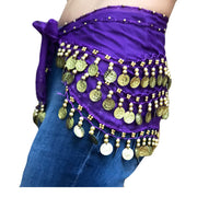 Zumba Coin Scarf Belly Dance Coin belt Purple gold