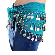Zumba Coin Scarf Belly Dance Coin belt Teal