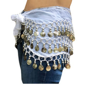 Zumba Coin Scarf Belly Dance Coin belt white