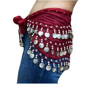 Zumba Coin Scarf Belly Dance Coin belt wine