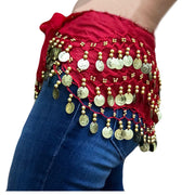 Zumba Coin Scarf Belly Dance Coin belt Red gold