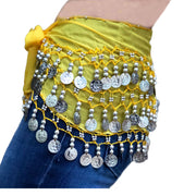 Zumba Coin Scarf Belly Dance Coin belt yellow