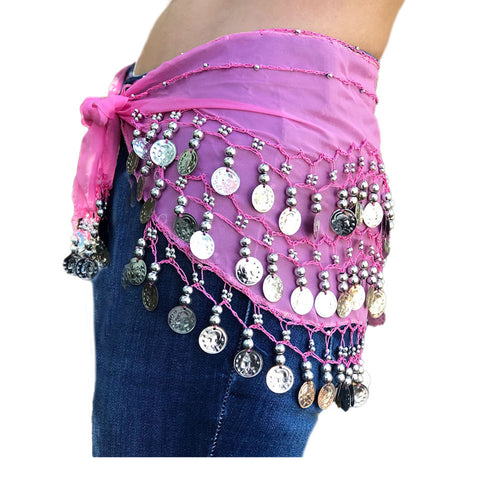 Zumba Coin Scarf Belly Dance Coin belt Hot pink