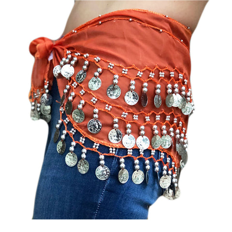 Zumba Coin Scarf Belly Dance Coin belt orange