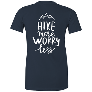 "Womens - ""Hike More Worry Less"" - TShirt (Back Printed)"