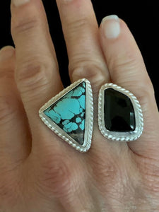 Double Ring with Turquoise and Onyx