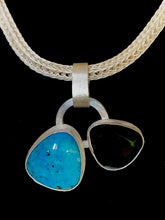 Load image into Gallery viewer, Double Turquoise and Onyx Pendant on Viking Knit Chain