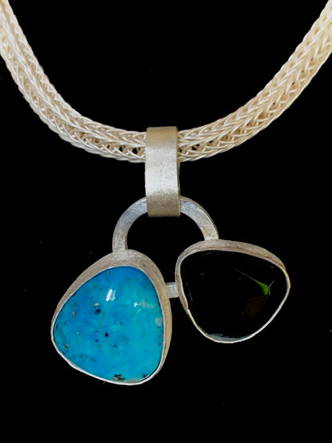Double Turquoise and Onyx Pendant on Viking Knit Chain