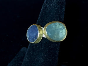 Silver and 22k Gold Ring with Aquamarine