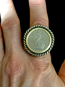 Vintage Swiss Coin Ring set in Sterling Silver and Brass