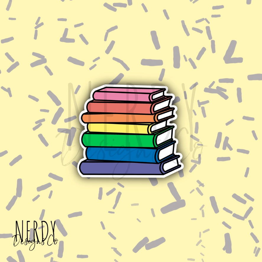 Rainbow Book Stack | Sticker/Decal