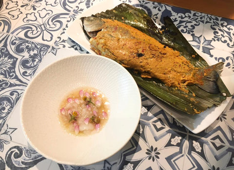 Banana Leaf Grilled Sambal Perch with Sweet Sour Fish Collagen Broth