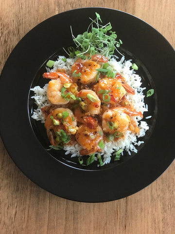 Shrimp sauté with sweet chili and garlic