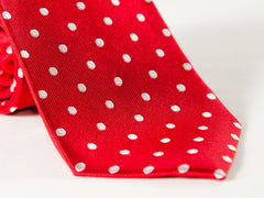 closeup photo of necktie - red with white polka dots
