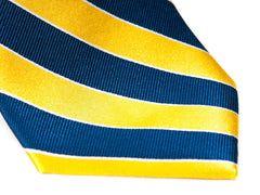 striped yellow and navy blue necktie
