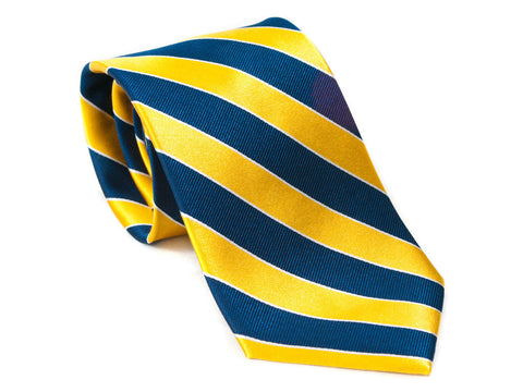 Bright Yellow and Navy Blue striped necktie rolled up
