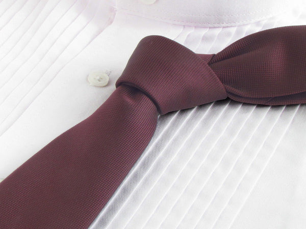 Burgundy color tie with white tuxedo shirt