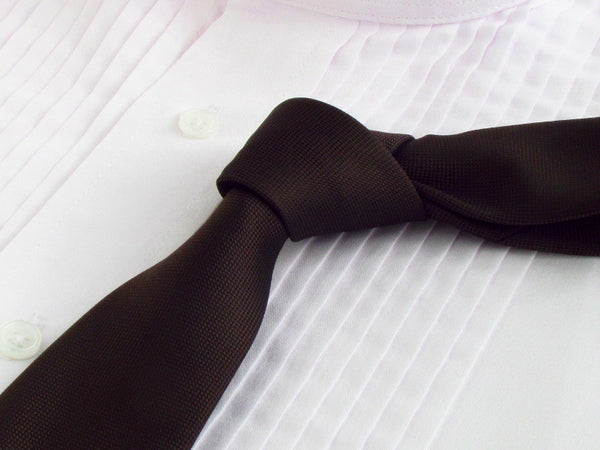 chocolate brown color tie with tuxedo shirt