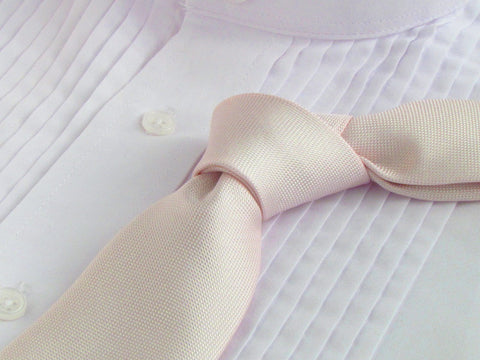 Cloud Pink tie with tuxedo shirt