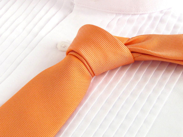 Coral Rose tie with tuxedo shirt