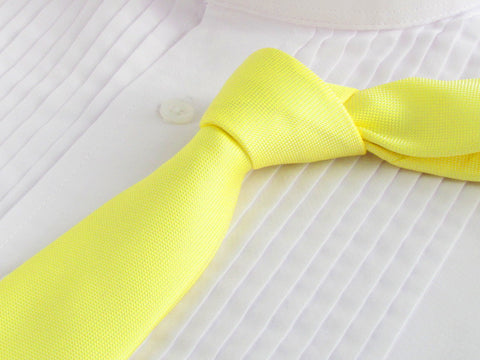 empire yellow tie with tuxedo shirt