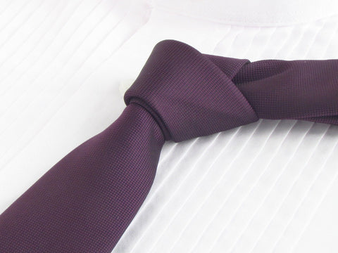 Grape Colored tie with white tuxedo shirt