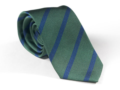 Spring green and blue striped necktie rolled up