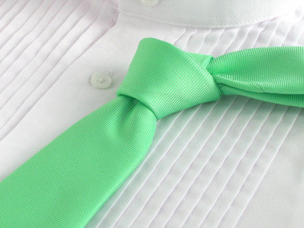 Irish green necktie with white tuxedo shirt