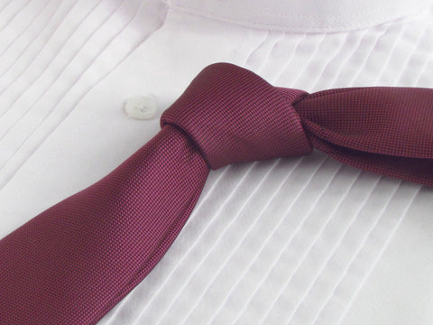 Solid maroon color tie with tuxedo shirt