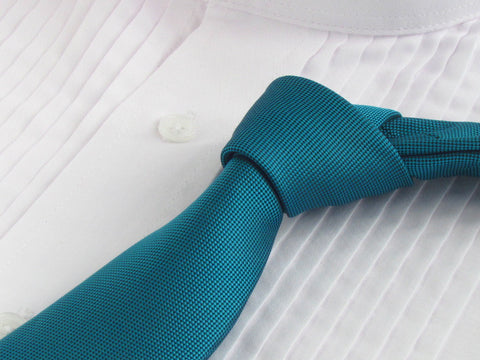 Peacock Blue Tie with White Tuxedo Shirt