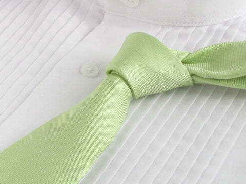 Pistachio color necktie with white tuxedo shirt