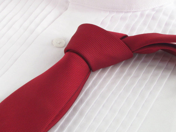 Pompeian red color necktie with tuxedo shirt